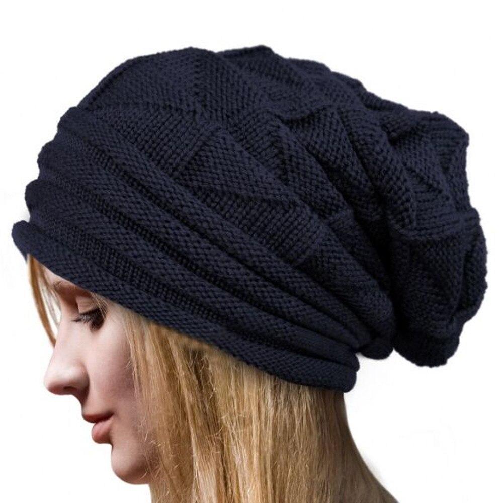 0d2ac9b8d355c Spring Women Men Knitted Winter Cap Casual Beanies Solid Hip-hop Snap Slouch  Skullies Bonnet