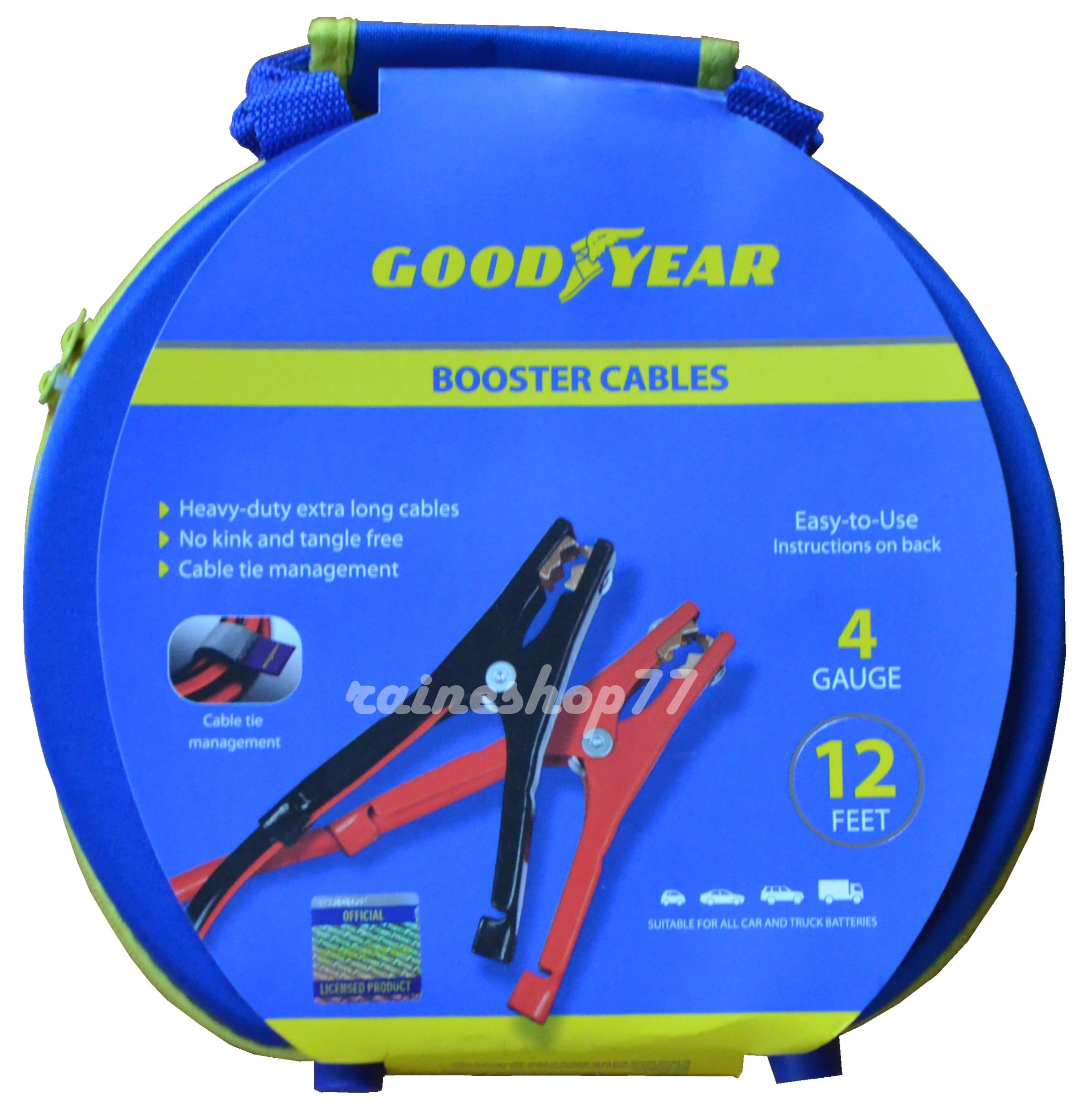 Goodyear GY1069 \ Heavy Duty Jumper Cables \ 16 Feet Long \ 4 Gauge Thick \ Emergency Booster \ Carry Case Included \ Compatible with All Vehicles \ Copper Contacts