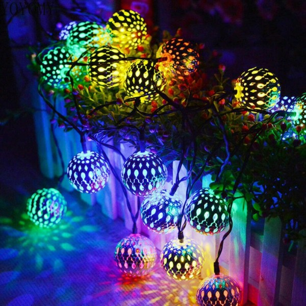 Bảng giá [2021new] 20 LED Outdoor Solar Round Ball Light String Lights Fairy Holiday Christmas Party Garland Solar Garden Waterproof Lights