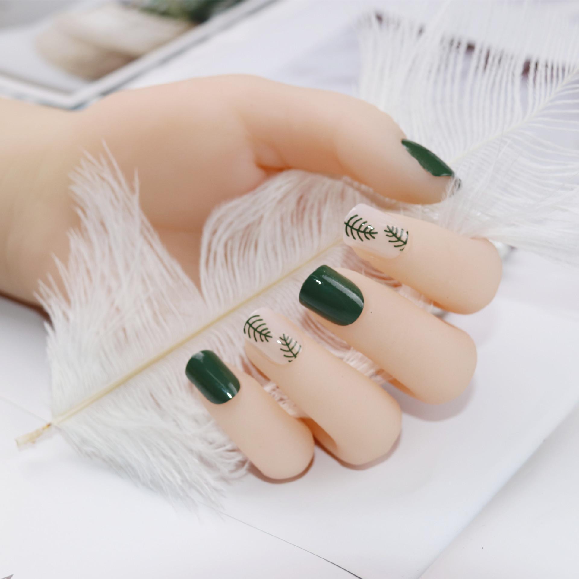O-New 24PCS Green Leaves Nail Art French False Fake Nail