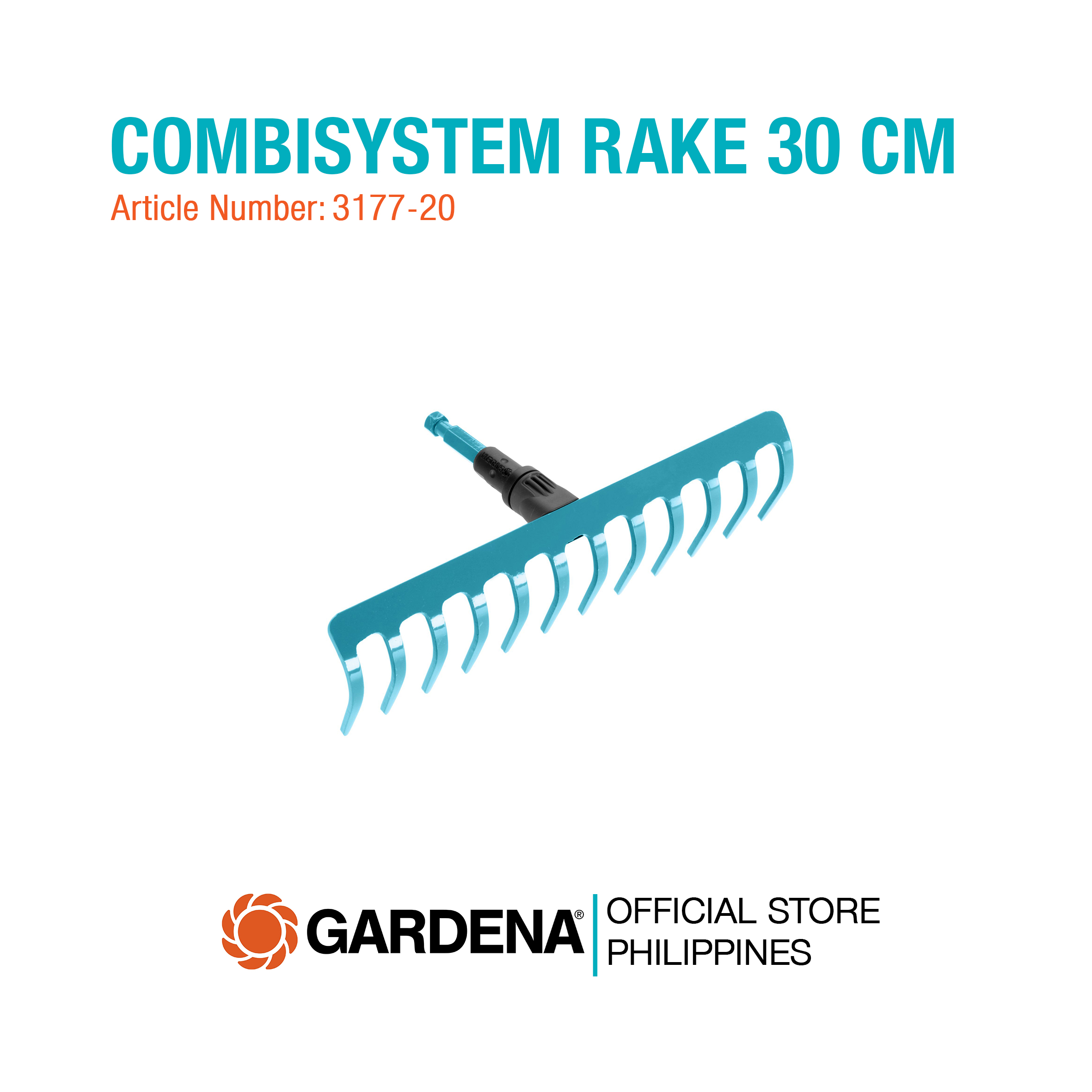 working width 30 cm Gardena Combisystem Rake 3177 ; for soil cultivation ; for raking and levelling;