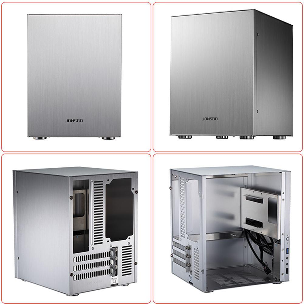Jonsbo C2 Aluminum Computer PC Case Desktop PC Chassis for Mini ITX microATX