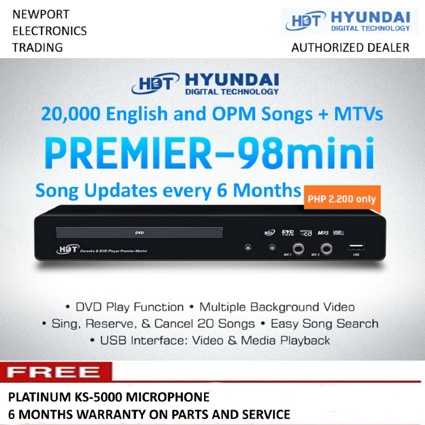 Hyundai Premier-98 Mini DVD Karaoke Player with 20000 Songs and Free  Platinum KS-5000 Microphone