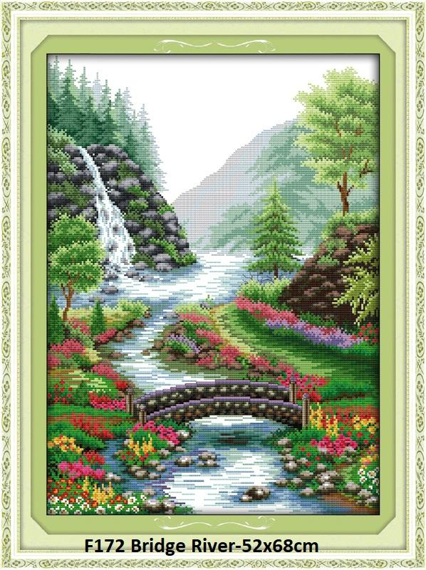 Bridge River Stamped/printed Cross Stitch Complete Set By Stamped To Stitch.