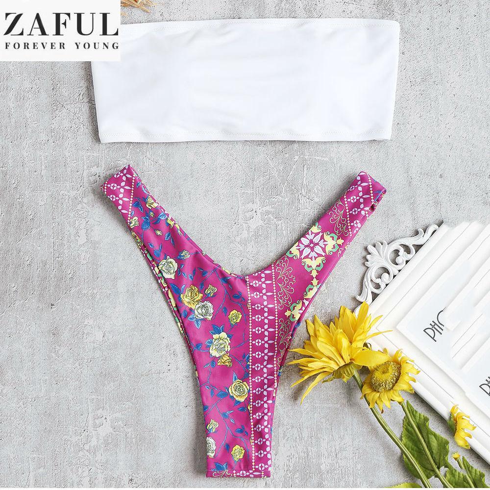 63207559da08b0 Zaful Fashion Women Sexy Type Summer Beach Holiday Lace-up Strapless Back  Flower Printed Bandeau