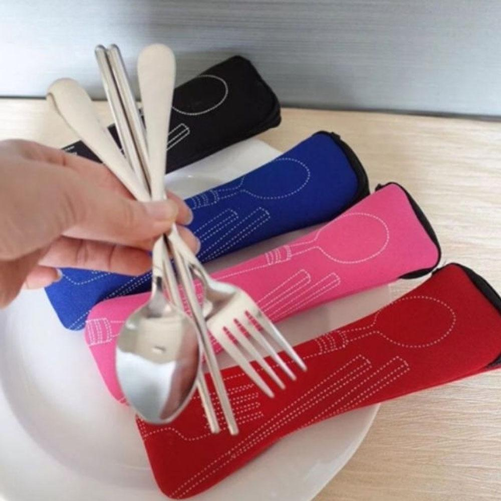3pcs Spoon Fork And Chopstick Set With Pouch By Et Electronics.