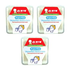Ainon Baby Super Fine Paper Stem Anti-Bacterial & Anti-Mold Cotton Buds ( 3 x 120pcs / 240 tips = total of 360pcs / 720tips ) Philippines