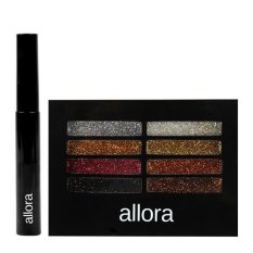 Allora Glitter Creme Eyeshadow Palette 2g (Boom Boom) with  Allora Waterproof Mascara 5g (Black) Bundle Philippines