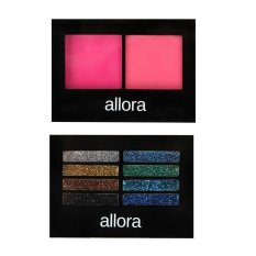 Allora Glitter Creme Eyeshadow Palette 2g (Galaxy) with  Allora Blush Duo 3g (Fucshia Fire) Bundle Philippines
