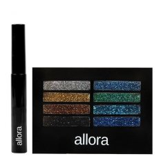Allora Glitter Creme Eyeshadow Palette 2g (Galaxy) with  Allora Waterproof Mascara 5g (Black) Bundle Philippines