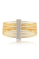 Alloy Zircon Multilayer Wide Hollow Cuff Retro Bangles (Gold)