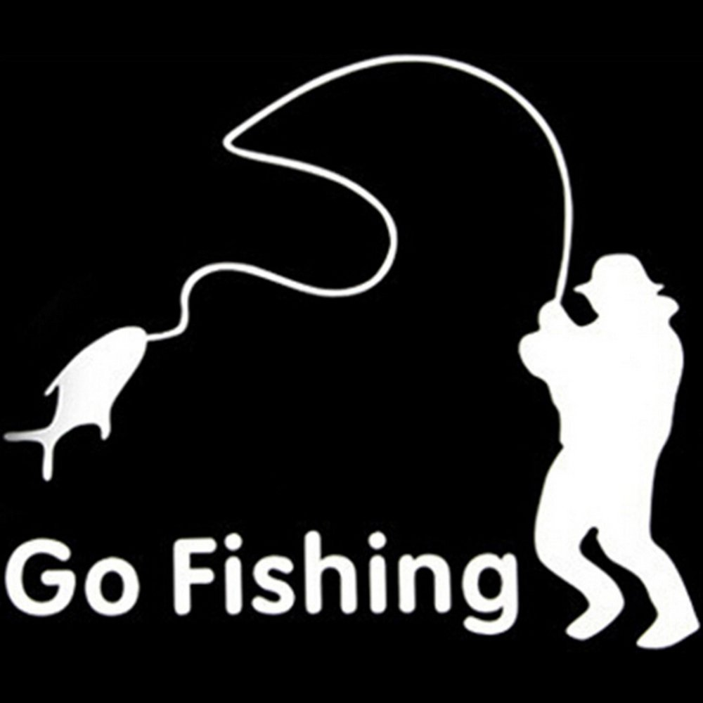 Amango Car Stickers White Go Fishing product preview, discount at cheapest price