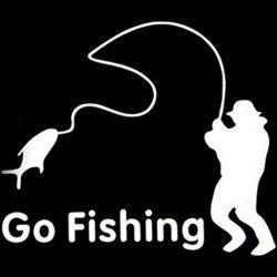 Amango Car Stickers White Go Fishing