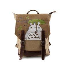 20751e051878 Anime My Neighbor Totoro Genuine Leather Canvas Backpack Bag Rucksack  Schoolbag Cosplay