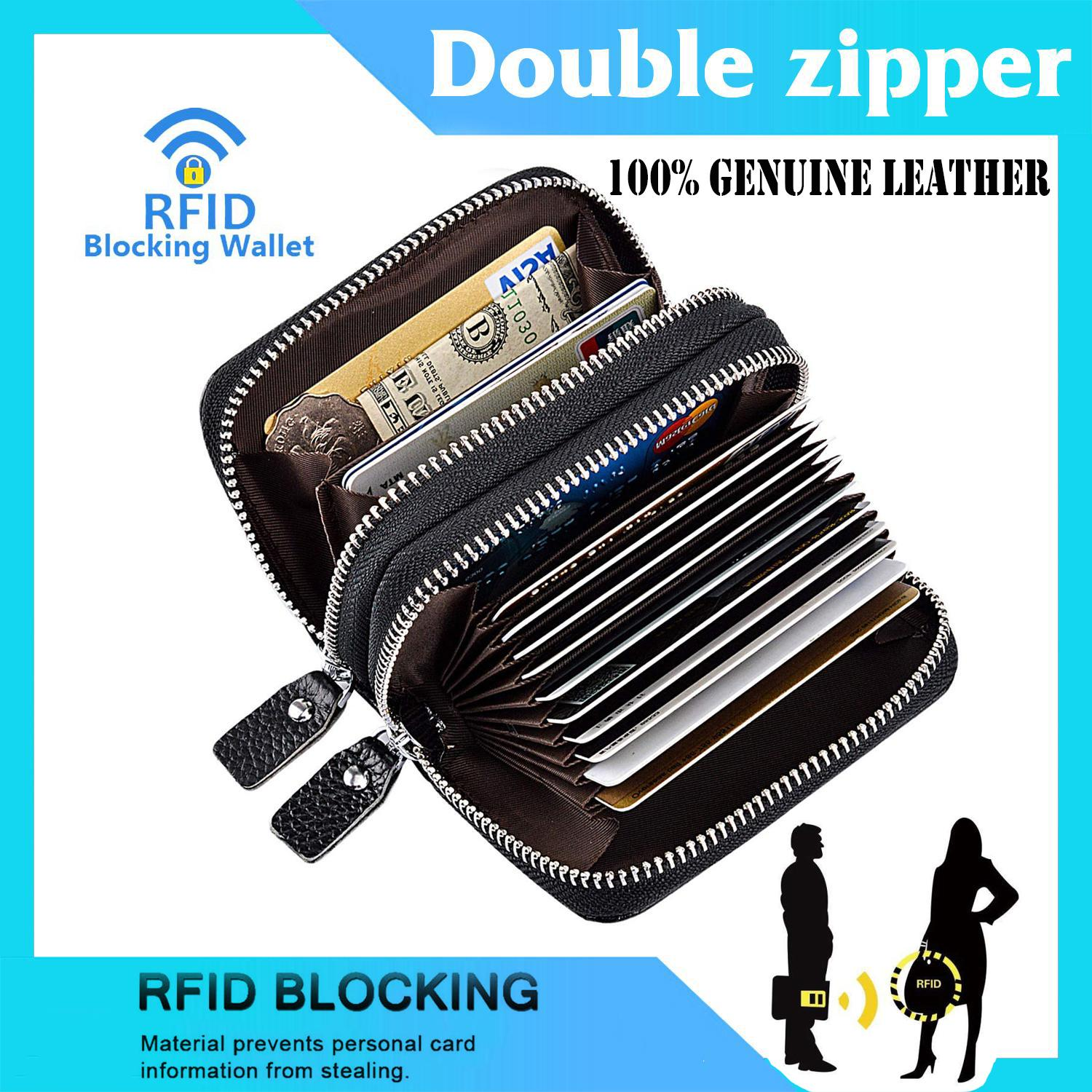 EsoGoal กระเป๋าใส่บัตรเครดิต กระเป๋าหนังแท้RFID Blocking Credit Card Holder, Genuine Leather Credit Card Wallet with Double Zipper Small Pocket Wallet Spacious Accordion Wallets