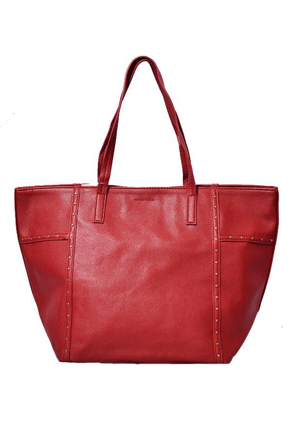 Mango Shopper Studded Tote Bag Red