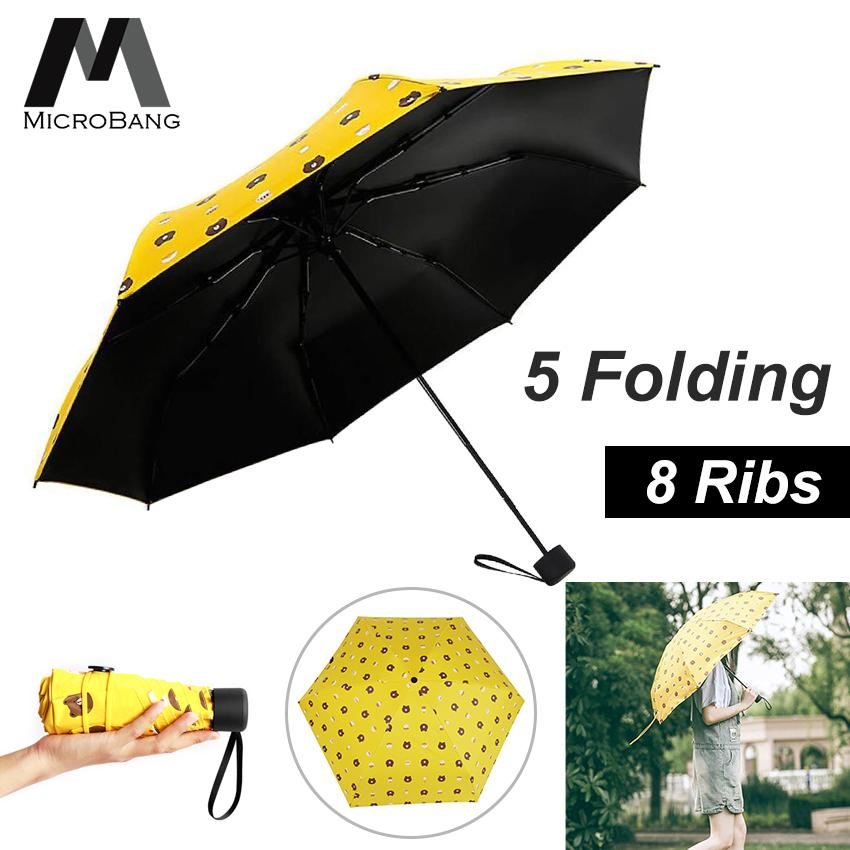1a5cf63abee6 MicroBang Mini Folding Portable Pocket Umbrella Sun Rain Umbrella,8 Ribs  98cm Big Surface Lightweight Compact Parasol UV Protection for Men Women