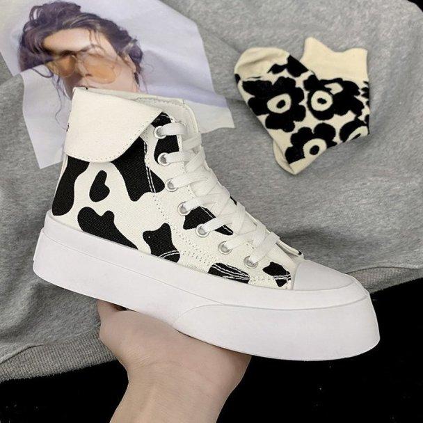 Giày Cổ Cao Giày Vải Bố Nữ Đôi Đôi Bò Ins Trào Lưu Đường Phố Giày Mũi Tròn 2021 Mẫu Mới Ulzzang Dễ Phối Trắng Giày giá rẻ