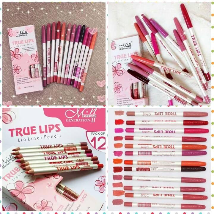 True Lips Lip Liner Pencil Set Of 12pcs By Foursisters.