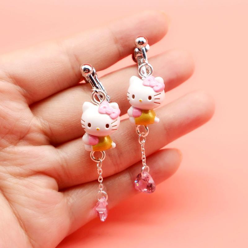 4710c8d01 Peach Home Cartoon doll Kitty hello kitty Princess Pink Diamond 925 Pure  Silver Chain Ear Hook