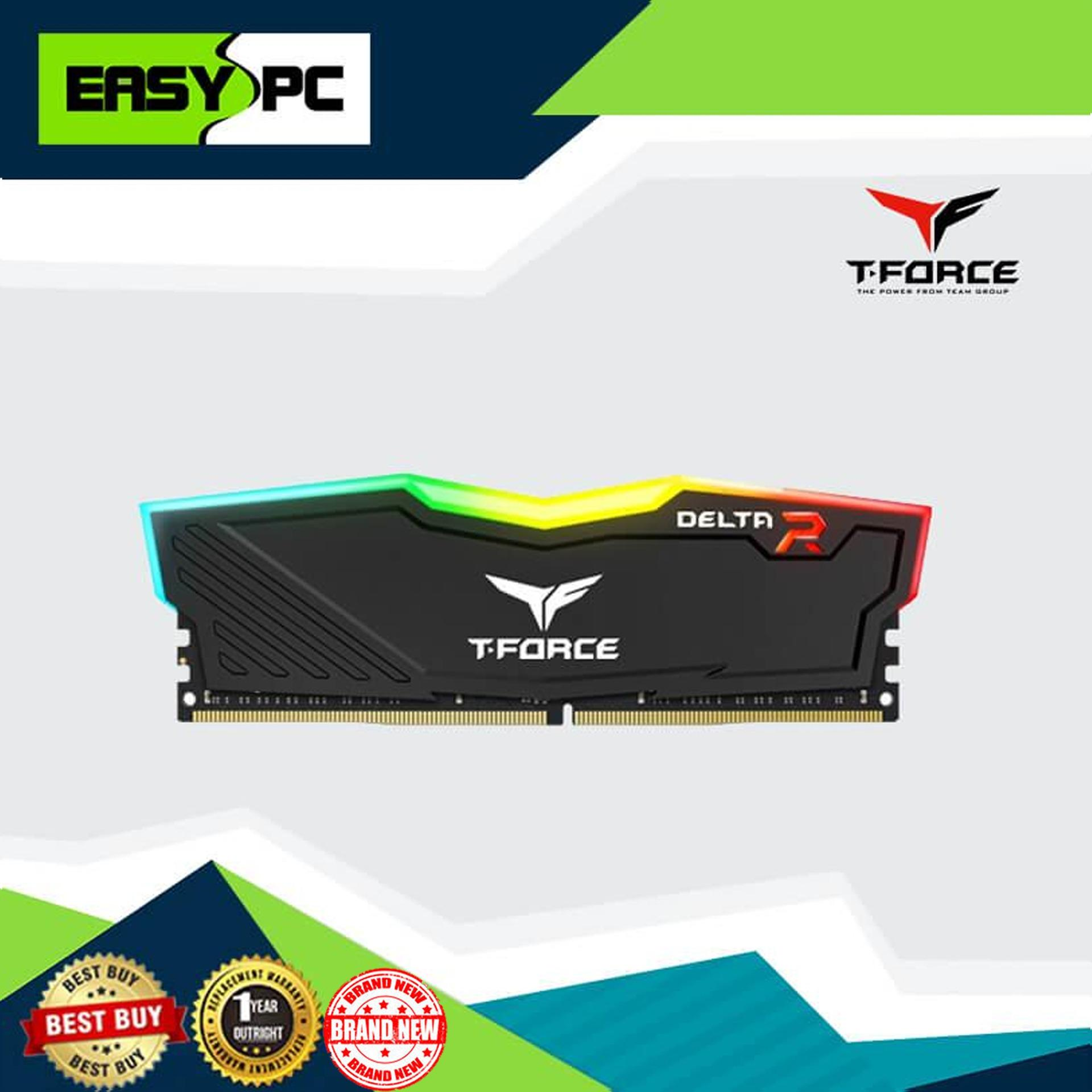 TeamGroup T-Force Delta RGB DDR4 SINGLE CHANNEL 2666Mhz 1 X 8GB 1.2V Black with Aluminum alloy heat spreader supports T-FORCE BLITZ, ASUS Aura Sync, 1 click Overclock with XMP2.0 Intel/AMD DDR4 motherboard compatible for Gaming Desktop.