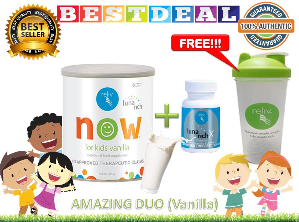 Reliv Now For Kids (vanilla) And Lunarich X 30s With Free Reliv Blender Bottle By Bestdeal O-Shopping.
