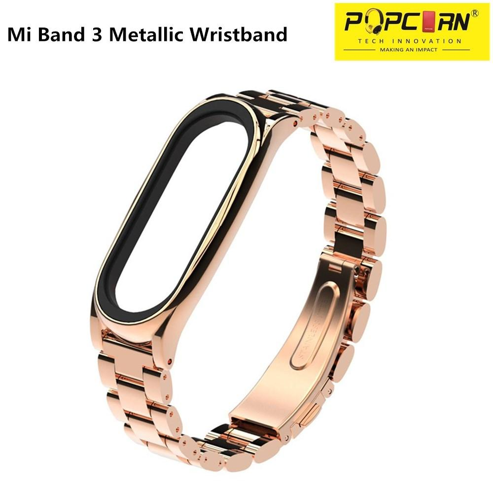 Xiaomi Mi Band 3 Metal/metallic Straps Screwless Stainless Steel Bracelet Wristband By Pop Corn Tech Innovation.