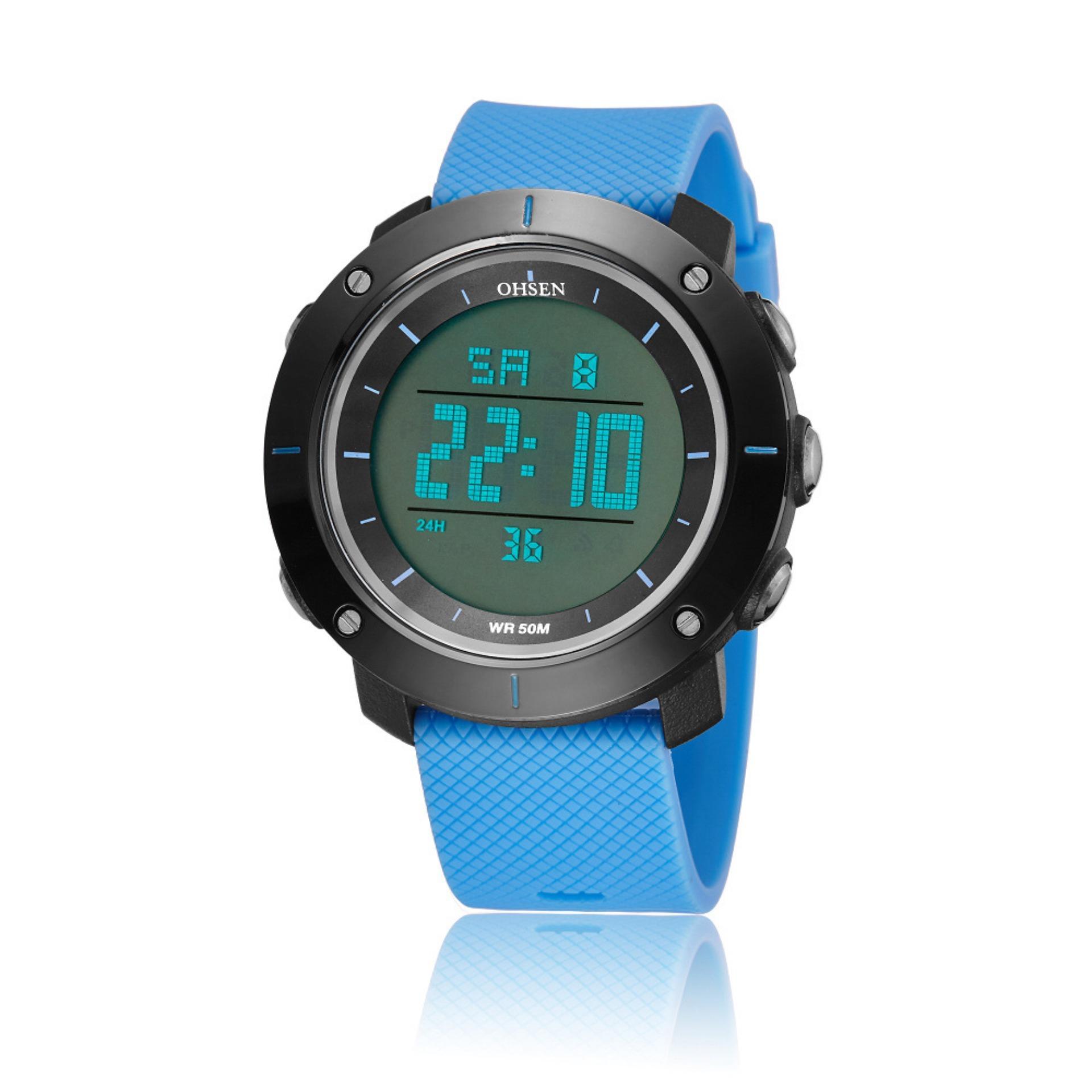 fba9788b248 Ohsen 1611 Men s Digital Time Sport Day Date Quartz Silicone Wrist Watch  (Blue)