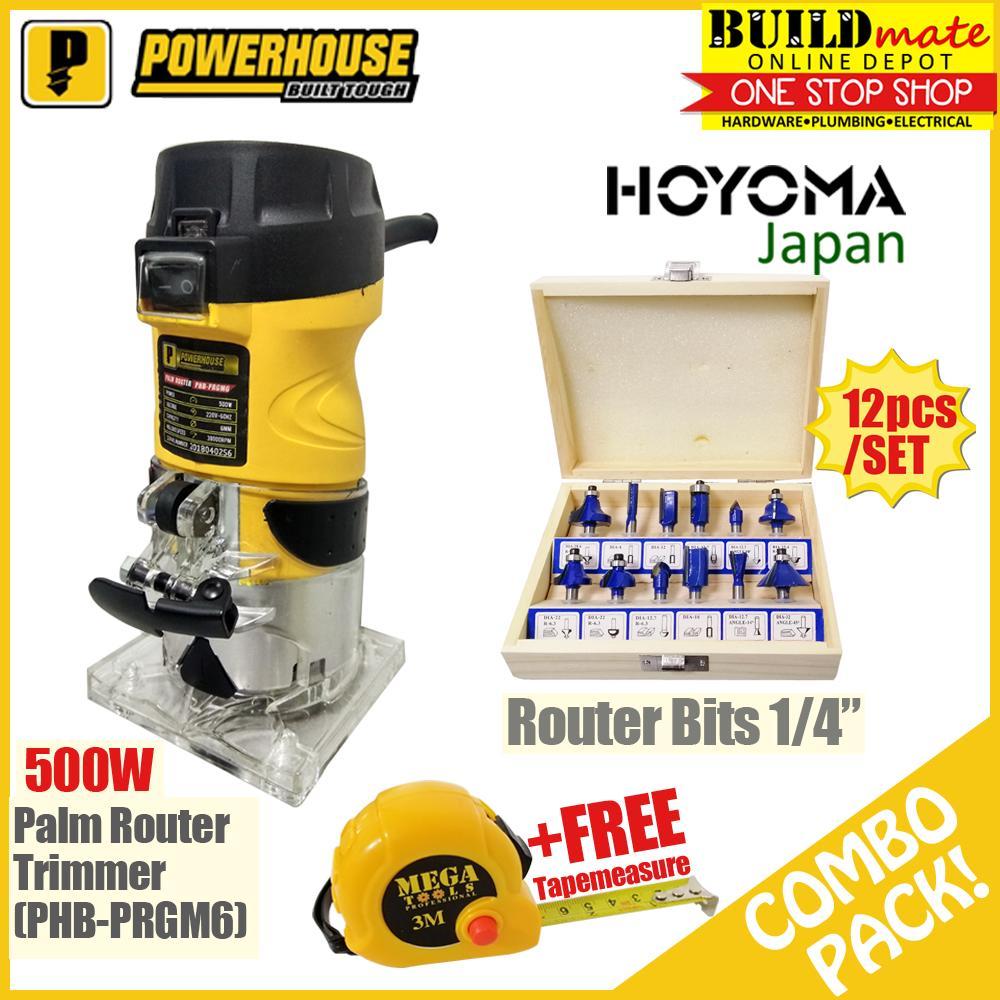 Powerhouse Palm Router 500W WITH Hoyoma RouterBits +FREETapeMeasure Mega
