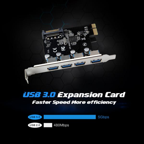 Bảng giá Thẻ Mở Rộng PCI-E Sang 4 Cổng USB3.0 Thẻ Chuyển Đổi PCI Express Sang USB3.0 Với Giao Diện Nguồn SATA, Dành Cho Máy Tính Để Bàn Phong Vũ