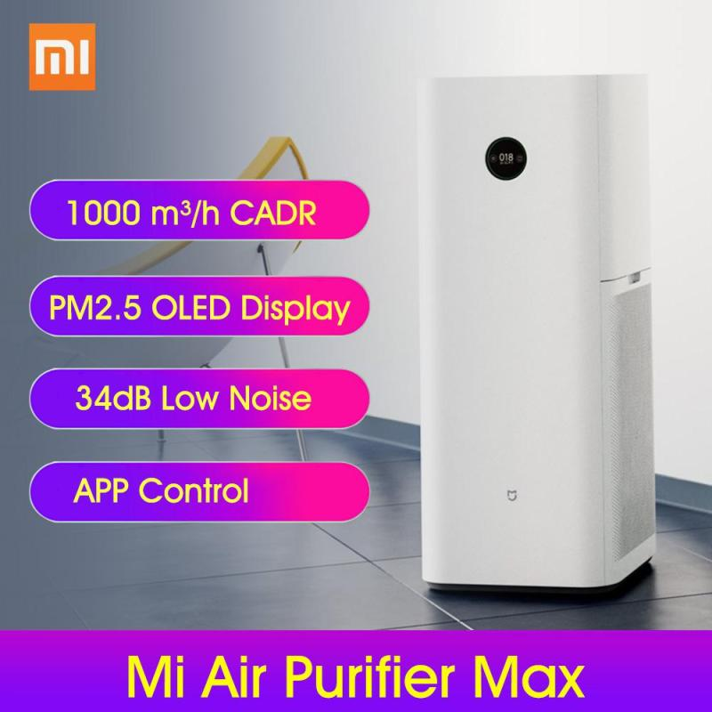Xiao mi Air Purifier MAX Electric Home Office Air Cleaner Intelligent PM2.5 OLED Display Control Smell Cleaner Mi Home APP 1000m³/h Particulate Matter CADR for 120m² Application Area Singapore