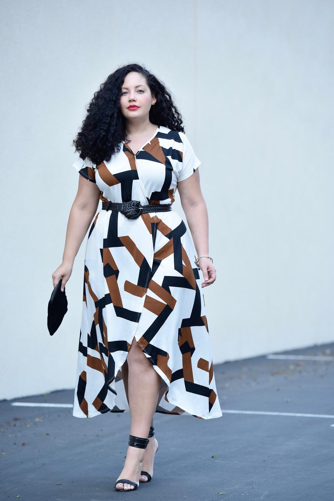 ba884baaf8 A2091 Geometric Print Hi Lo Plus Size Dress