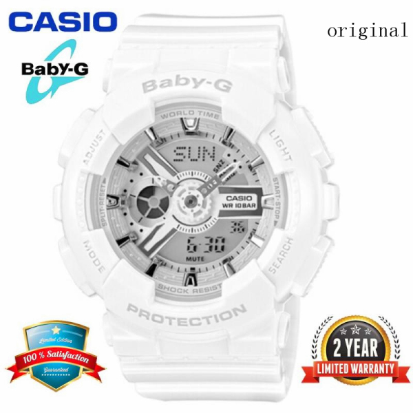 (Free Shipping) 2021 Original Casio Baby G_BA-110-7A3 Women Sport Watch Duo W/Time 200M Water Resistant Shockproof and Waterproof World Time LED Light Girl Wist Sports Watches with 2 Year Warranty BA110/BA-110 White Silver Malaysia