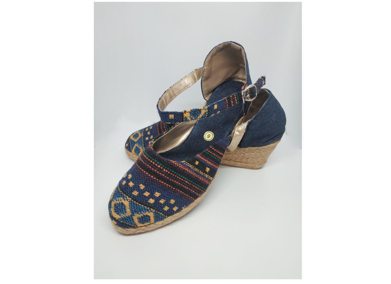 Woven ethnic print wedge sandals