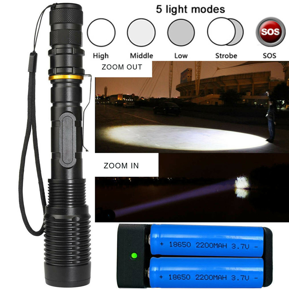 350000LM T6LED Flashlight Zoomable Rechargeable Torch+18650 Battery/&Dual Charger