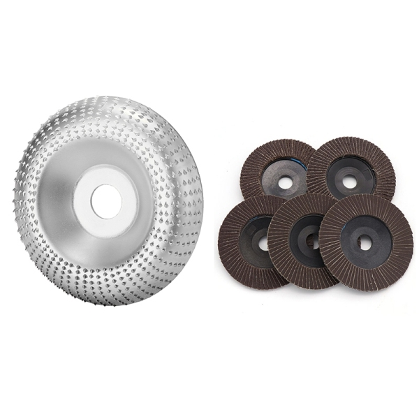 Angle Grinder Disc Wood Carbide Grinding Wheel Carving Abrasive Disc and 5 Pieces Sanding Grinding Wheel Flap Discs