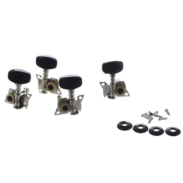 4Pcs Ukulele Guitar and Small 4 String Guitar Tuning Pegs Machine Heads 2R and 2L, Mounting Screws Included--Silver and Black Malaysia