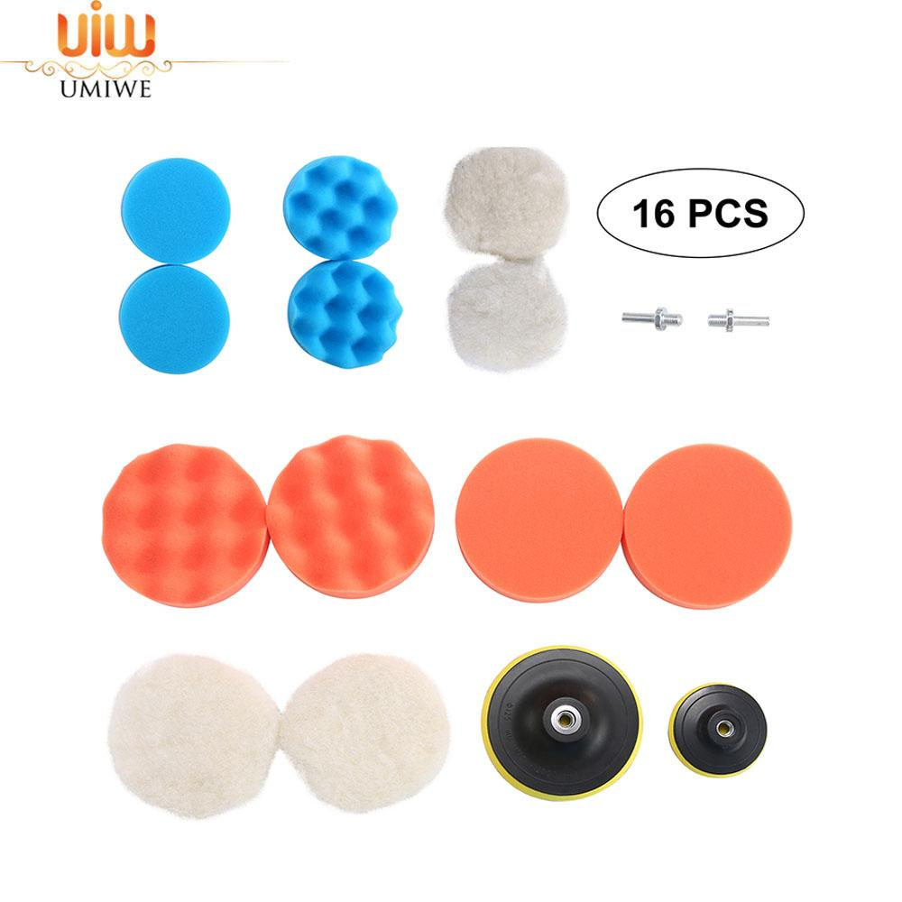 Color You 14 Pack 3 inch Polishing Pads Sponge Buff Pads Set with M10 Drill Adapter Sponge and Woolen Car Polishing pads