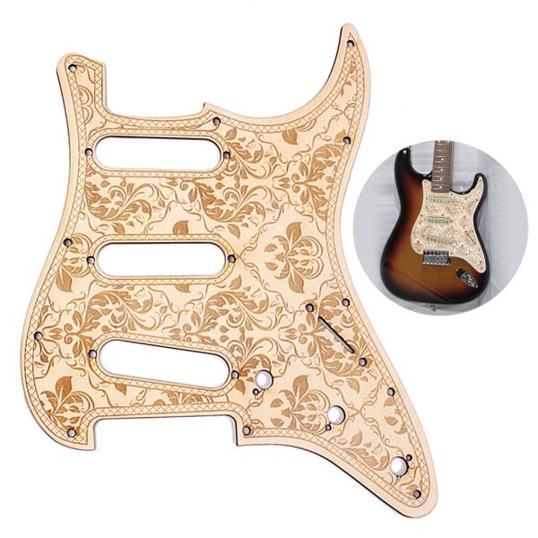 SSS Wooden Guitar Pickguard Maple Wood with Decorative Flower Pattern for ST Electric Guitars