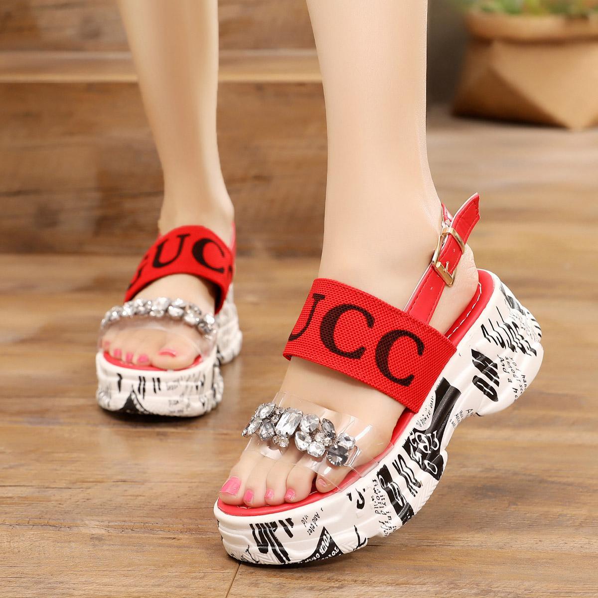 55f777c9066 women Summer 2019 New Style Online Celebrity Man-made Diamond Sandals Korean  Style Versitile Fashion