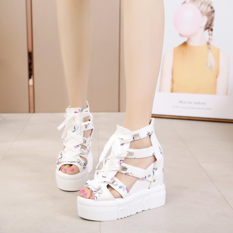 2018 musim panas Gesper Sabuk Kulit putih 12 cm sepatu Golden Goose hak super-tinggi Sol Tebal kue spons mulut ikan Roma kelihatan jari kaki Sandal summer wanita