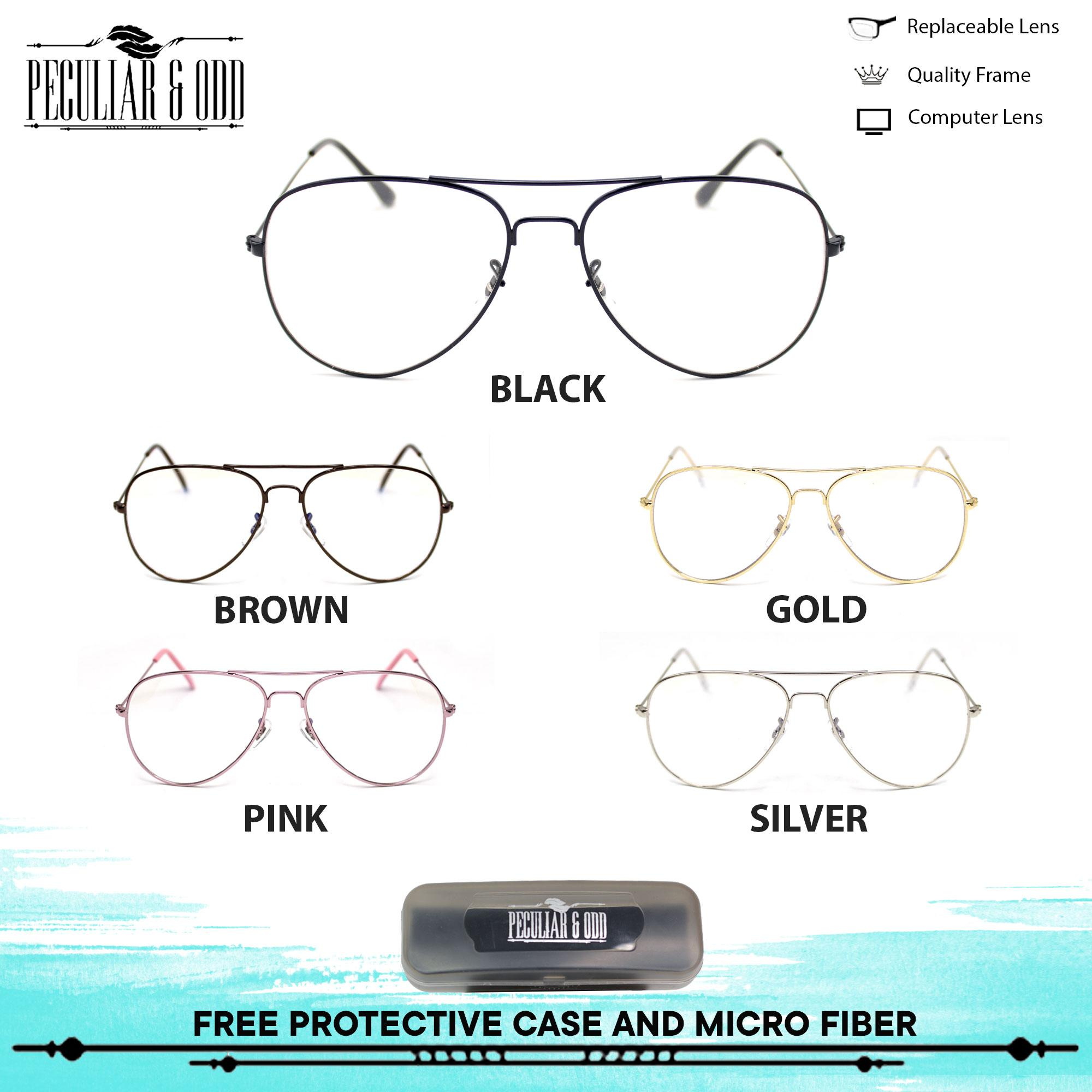 aceb3cbc88 Peculiar Aviator Pilot 3027 Antiradiation Lenses in Thin Metal Frame  Lightweight Replaceable Optical Lens Unisex Eyewear