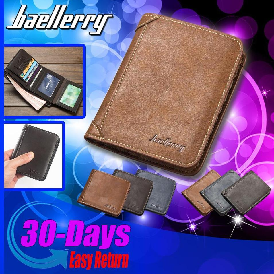 Baellerry Men Short Wallet Coin Purses Luxury Male Soft PU Leather Billfold Money Pocket Credit Card