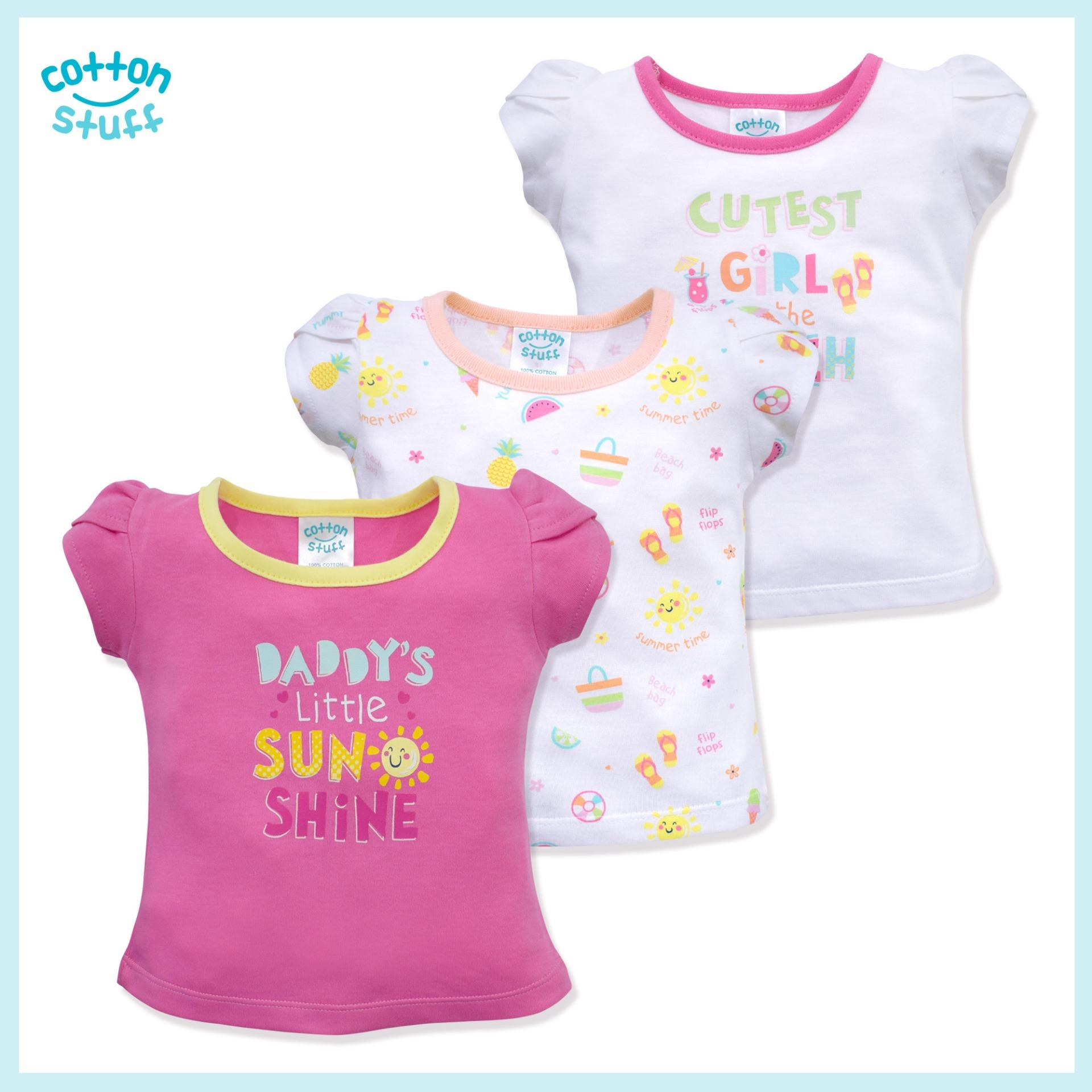 Cotton Stuff - 3-Piece Short Sleeve Fitted Blouse (little Sunshine - Girl) By Cotton Stuff.