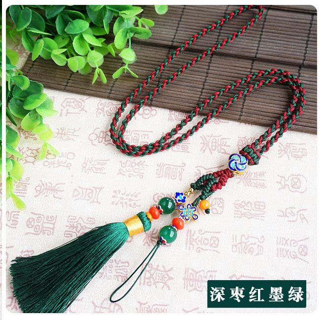 Hand-woven Mobile Phone Lanyard Neck Rope Mobile Phone Rope Crystal Hang  Rope Cellphone Chain Anti-Theft Anti-loss Chain Length Women's