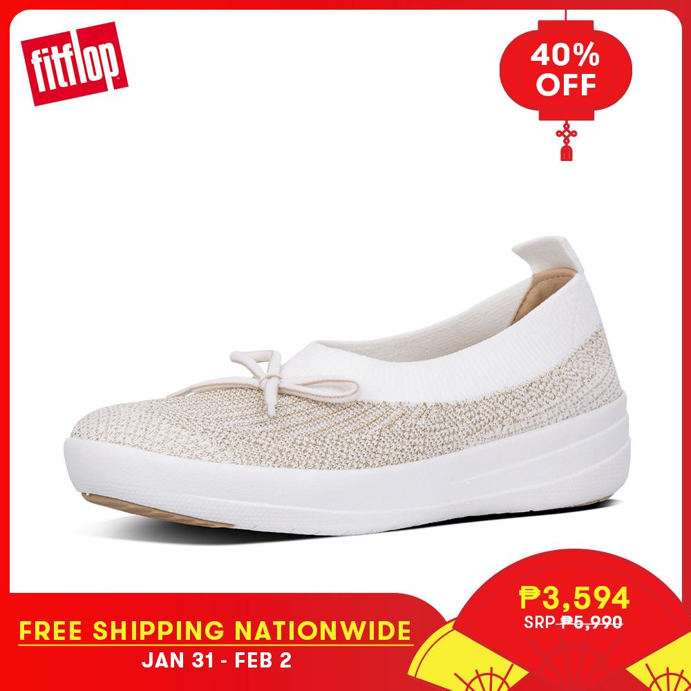 d9f5a28159e Fitflop Women s Shoes K77 UBERKNIT BALLERINA WITH BOW - METALLIC WEAVE  TEXTILE ATHLEISURE lightweight comfort fashion