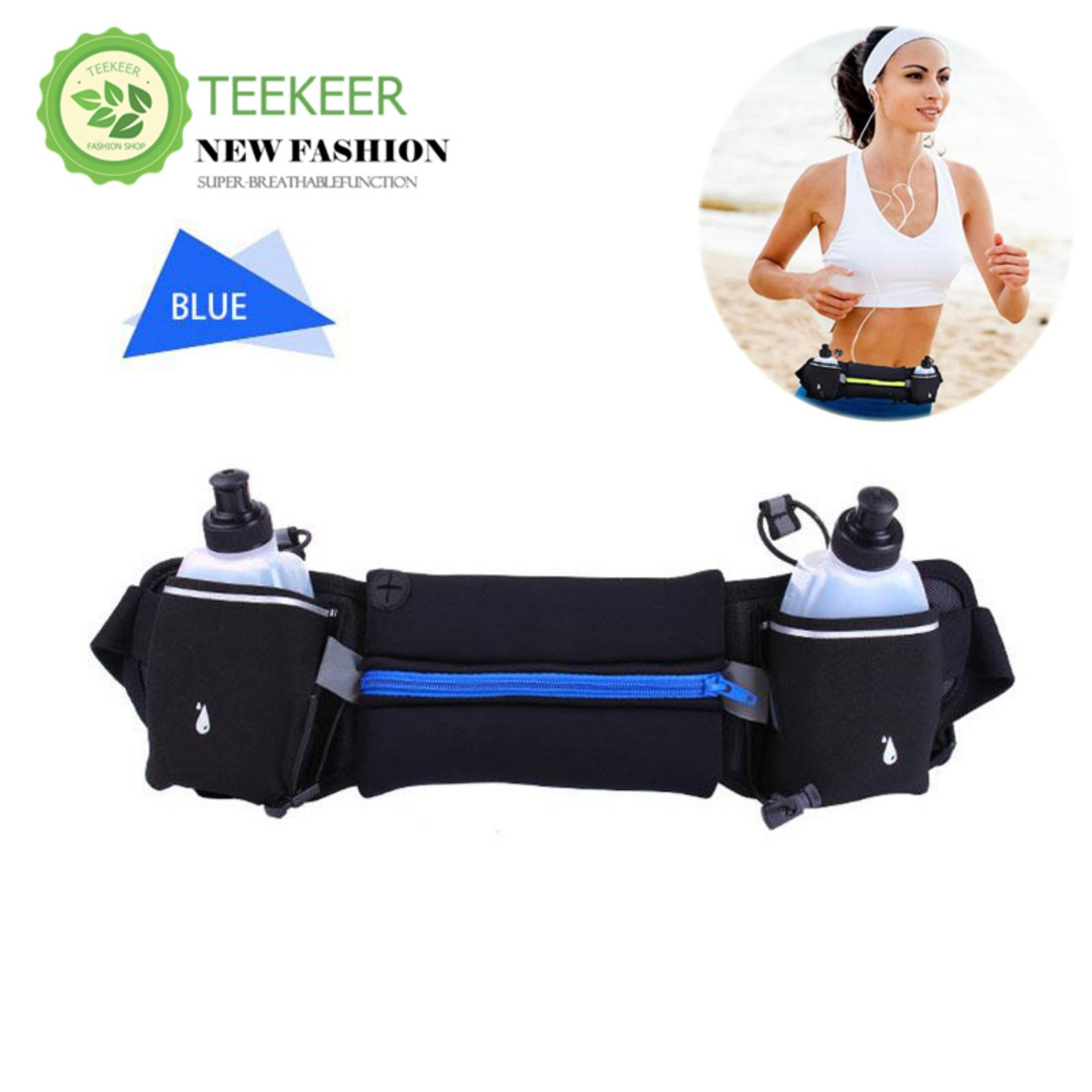 08bc6dcf1831 Teekeer Running Belt Multifunctional Zipper Pockets Water Resistant Waist  Bag, With 2 Water Bottles Waist Pack For Running Hiking Cycling Climbing. -  ...
