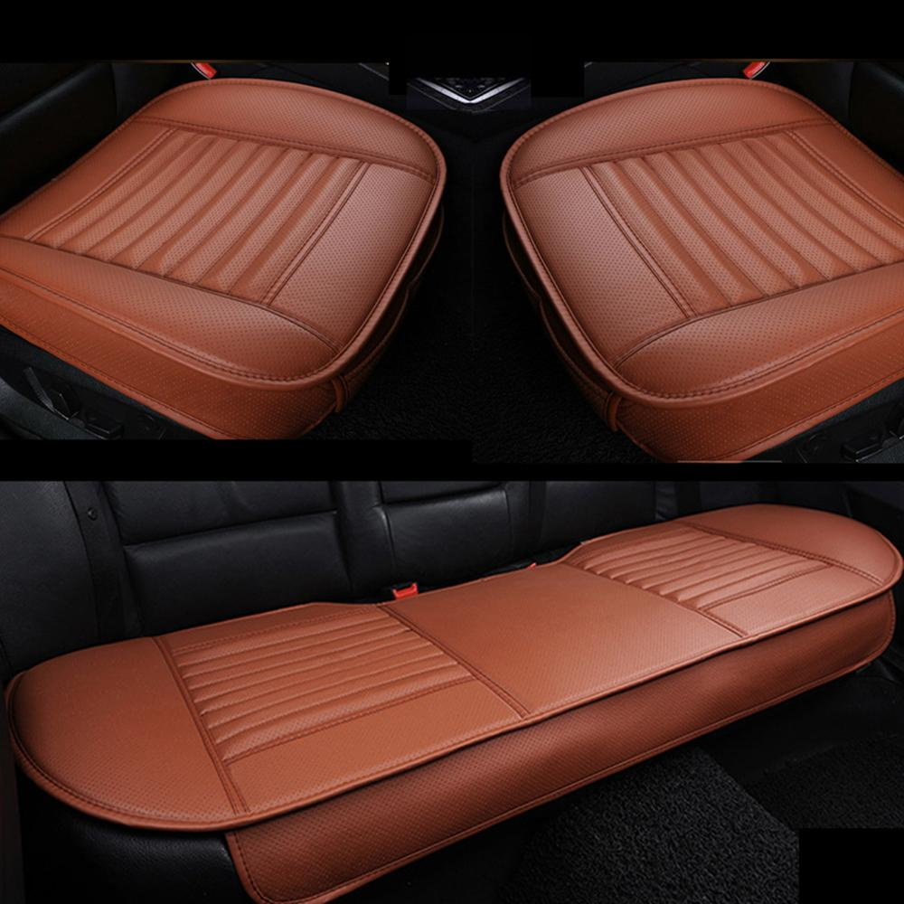 Universal SUV Car PU Leather Rear Seat Long Rear Seat Cover Pad Cushion Red Seam