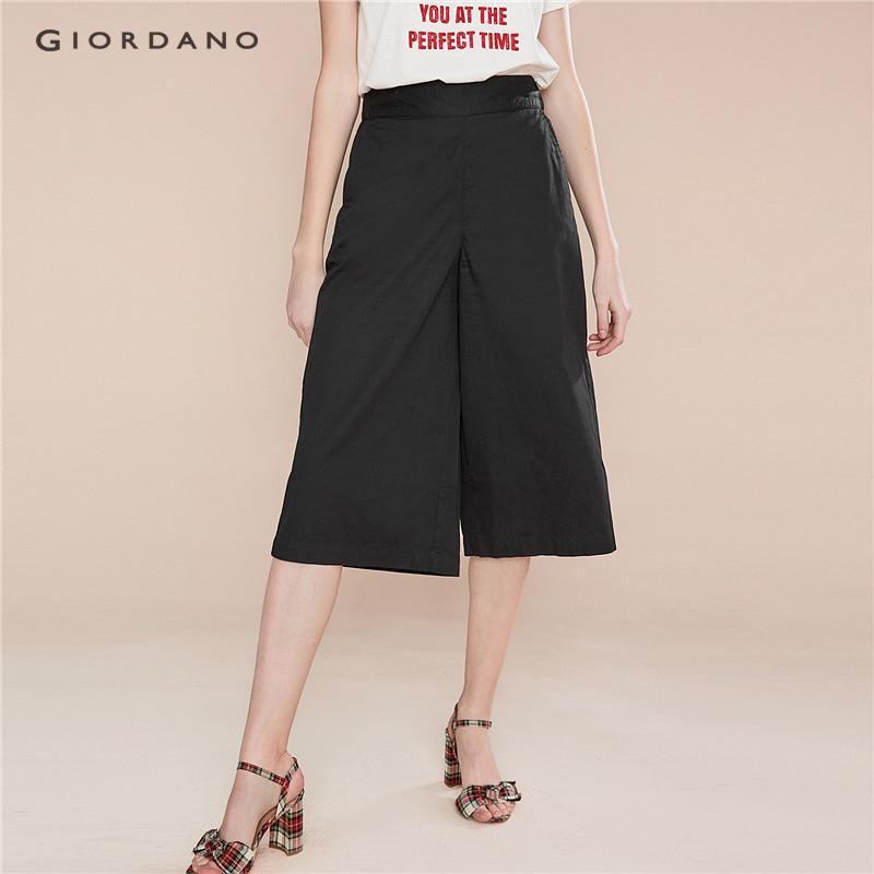 9041a6e49856f Giordano Women Pants Wide Leg Calf Pants For Women Casual Trousers Elastic  Waist Cotton Summer Spring