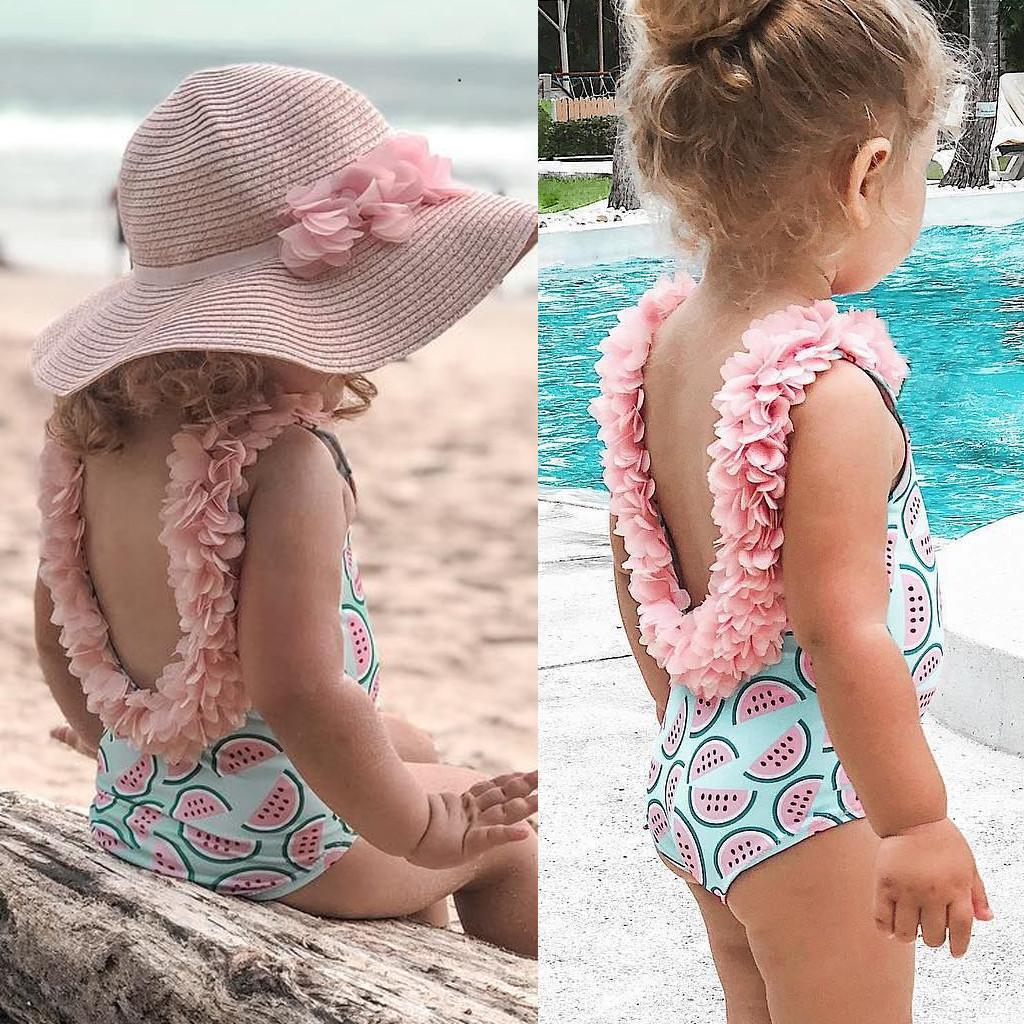 d93da23bc85fa 2019 Swimsuit Toddler Kids Baby Girl Ruffled Print Bikini Beach Swimsuit  Bathing Swimwear